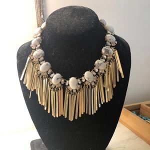 Gold and white costume jewelry- statement necklace